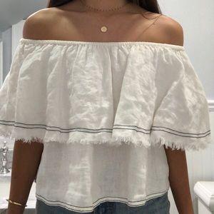 NWT Zara Linen Off the Shoulder Top